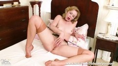 Blonde Lucy Lauren will do anything for sir as she wanks in vintage fully fashioned nylons and garte Thumb