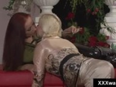 Blonde slut swims fully clothed while her redhead girlfriend watc Thumb