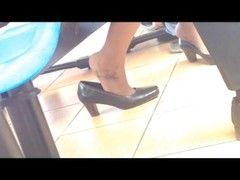 Candid asian shoeplay dipping feet in nylons stewardess Thumb